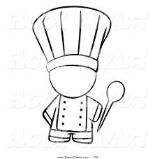 Vector Clip Art Of A Black And White Human Factor Chef Holding Mixing Spoon On