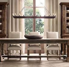 Elegant Crystal Chandelier Design For English Country Dining Room Ideas With Rustic Table