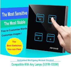 fashion 4 gangs 1 way black diy touch light wall switch temered