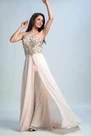 slender halter beaded sweet cute champagne chiffon prom dress