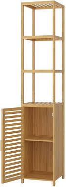 homfa bambus standregal schmal hochschrank verstellbar badezimmerschrank mit 3 ablagen badregal mit schrank für küche wohnzimmer badezimmer