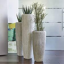 wunderschöne hochwertige pflanzvase pflanzkübel mit rillenstruktur fiberglas mit einsatz innen außen wetterbeständig frostsicher höhe