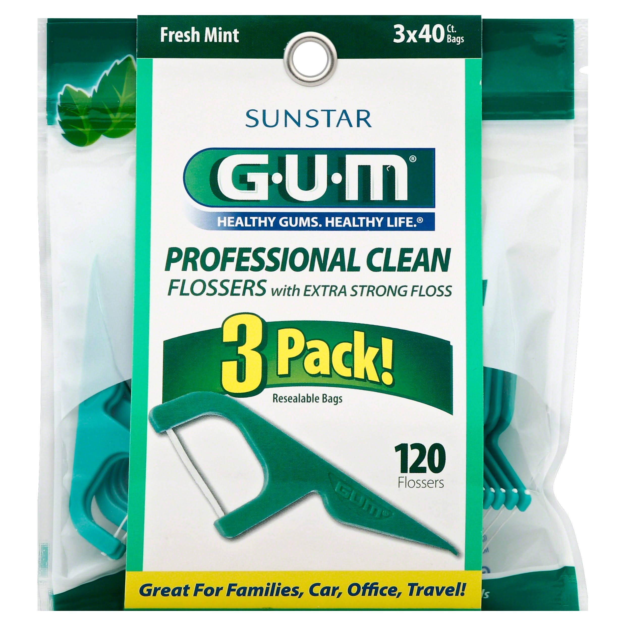 GUM Flossers, Professional Clean, Fresh Mint, 3 Pack! - 120 flossers