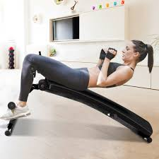 Adjustable Incline Curved Workout Fitness Sit Up Bench With Speed Ball 2 Straps