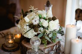 Modern Style Winter Wedding Flower Arrangements With White Rustic Chic Flowers An Earthy Organic