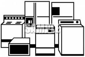 Clip Art Image Black And White Household Appliances
