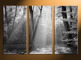3 Piece Canvas Wall Art Oil Paintings Black And White Pictures Scenery Home Decor