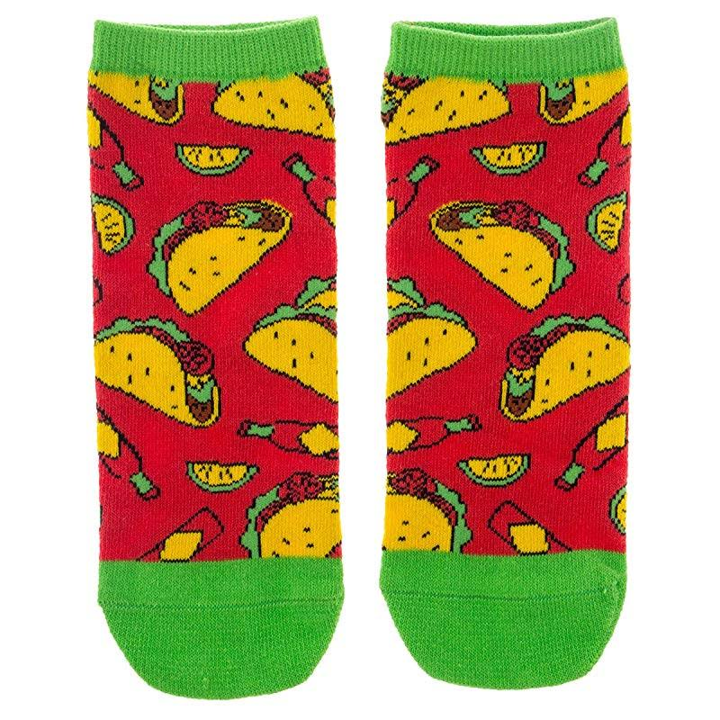 Wit! Gifts Men's Sock Red, Yellow & Green Taco No-Show Socks - Adult One-Size