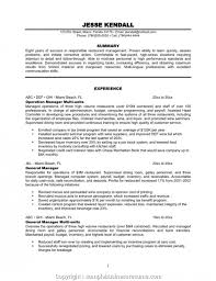 Simple Multi Unit Restaurant Manager Resume Sample Duties For Operation Experience