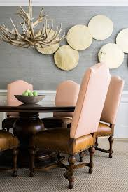 Pink And Leather Rustic Dining Chairs