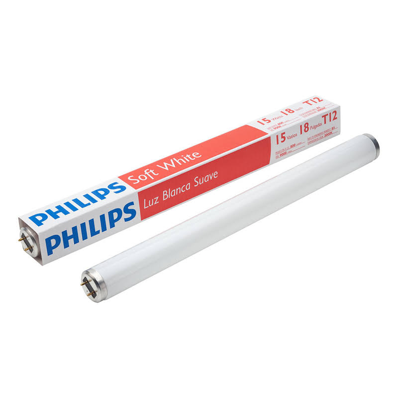 Philips 141465 F15T12 Straight T12 Fluorescent Tube Light Bulb - White
