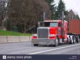 100 Semi Truck Exhaust Bright Red Power Classic American Big Rig Semi Truck With Tall