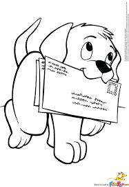 Dog Breed Coloring Pages Printable Free Puppy Carrying Letters Mail Page It Fun Print Envelope Printed