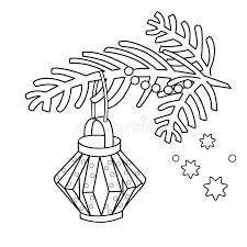 Download Coloring Page Outline Of Christmas Decoration Paper Flashlight Tree Branch New