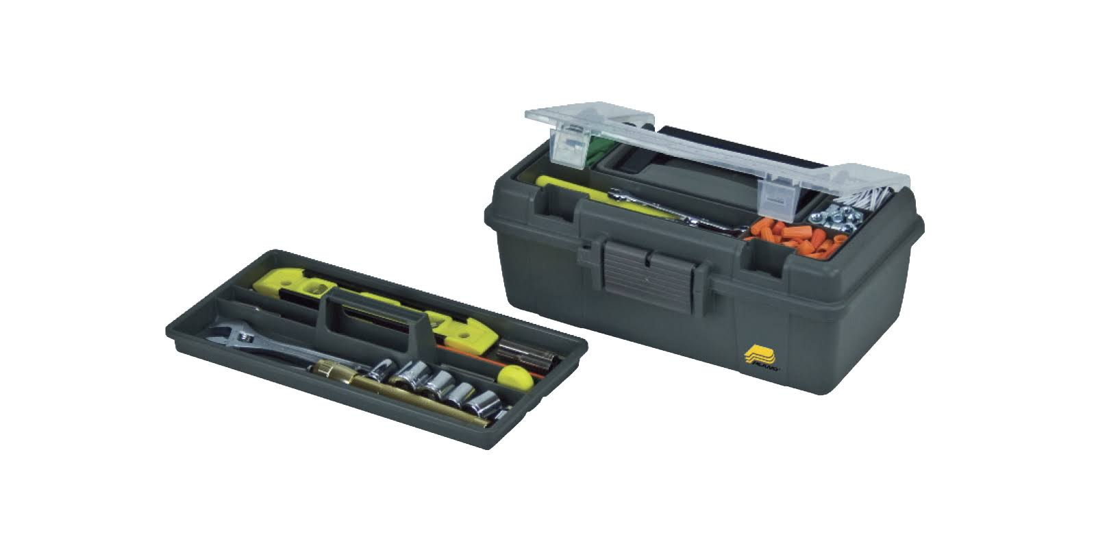 Plano 13 in. Compact Tool Box with Tray, Graphite Gray