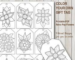 Printable PDF Gift Tag Coloring With Retro Pop Flower Design Instant Download Tags Adult