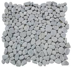 pebble mosaic tile 12 x12 carrara white river rocks tumbled