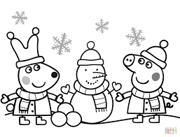 Click The Peppa And Rebecca Are Making Snowman Coloring Pages To View Printable