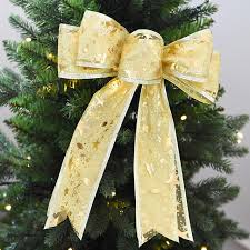 HAOCHU 5Pcs Lot Bling Music Note Print Bow Ribbon Flower Christmas Tree Toppers Wreath Decoration