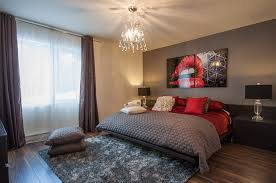 View In Gallery Red Brings Chic Glamour To The Posh Bedroom Design Le Blanc Home Staging