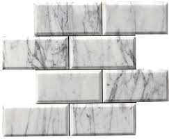 6 X 12 Beveled Subway Tile by Carrara Bianco Marble Collection