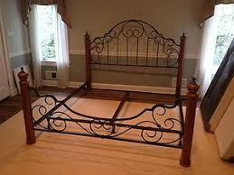 Wrought Iron And Wood King Headboard by King Size Wrought Iron U0026 Wood Post Bed Wrought Iron Beds