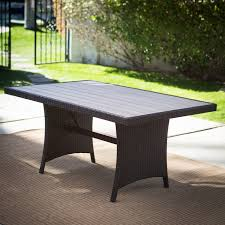 Bowery Hill Round Wicker Foldable Patio Dining Table