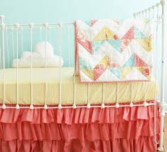 Aqua And Coral Crib Bedding by Chevron Baby Quilt Bumperless Coral Baby Crib Bedding