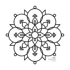 FIVE Rangoli Colouring Pages Printable Digital KalyaniDesigns