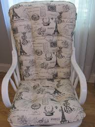 Glider Or Rocking Chair Cushions Set In Black French Stamp On Natural  Background, Baby Nursery Rocker, Dutailier Replace
