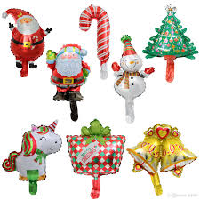 Unicorn Christmas Balloon Aluminum Foil Santa Cane Snowman Small