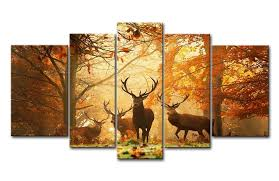 Brown 5 Panel Wall Art Painting Deer In Autumn Forest Pictures Prints On Canvas Animal The