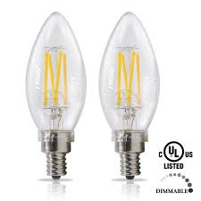 etoplighting 2 pack 40 watt 120 volt candelabra dimmable led