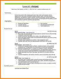 Resume Samplesfast Food Server Restaurant Example Emphasis 2 Full 755x977jpeg
