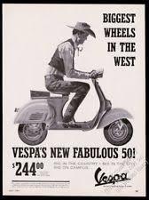 1964 Vespa Scooter Cowboy Art Vintage Print Ad