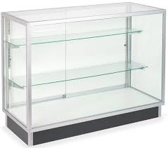 48 Retail Display Case W Recessed Kickplate Slider Door Adjustable Shelves