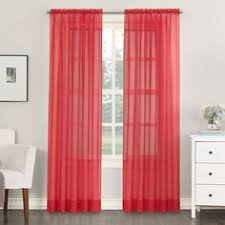 Macys Decorative Curtain Rods by No 918 Maddie Sheer Rod Pocket Curtain Panel 63 Inches Red