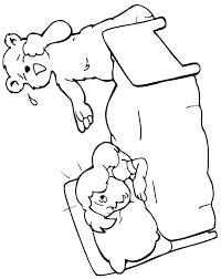 Goldilocks Coloring Page Of Asleep In Baby Bears Bed