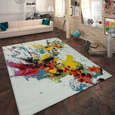 design teppich wohnzimmer farbklecks
