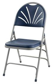 Body Builder Navy Blue Fan Back Folding Chair By National Public Seating,  1100 Series