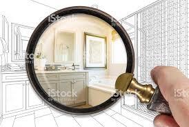 halten enthüllen fertige badezimmer bauen über zeichnung stockfoto und mehr bilder architektur