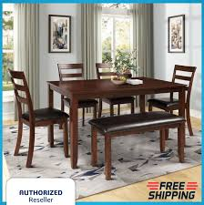6 Pcs Dining Set Table W/ 4 Ladder Chairs And Bench Wood & Faux Leather  Espresso