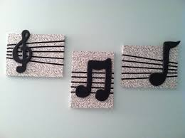 DIY wall decor Cover canvas squares with music note fabric add