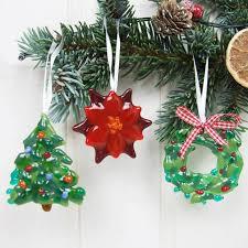 Handmade Glass Wreath Christmas Tree Poinsettia And Decorations