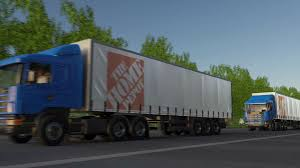 100 Home Depot Truck Freight Semi Trucks With The Logo Driving Along Forest