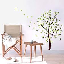 decalmile wandtattoo baum wandaufkleber grüner blätter wandsticker schlafzimmer wohnzimmer sofa hintergrund wanddeko h 110 cm
