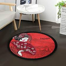 de mnsruu japanischer geisha teppich rot rund für