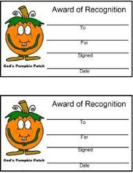 Pumpkin Patch Parable Craft by Pumpkin Award Certificate Pumpkin Sunday Lesson God U0027s