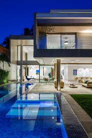 architecture simple outdoor pool with blue pool porcelain floor