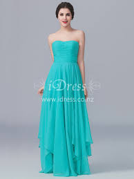 a line strapless ruched bodice tiffany blue chiffon dress for